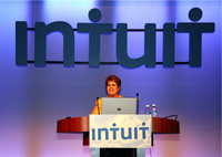 Laura speaking at the QuickBooks Enterprise Solutions User Conference, September 2008, Dallas, Texas